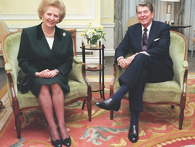 President Ronald Reagan pictured with British Prime Minister Margaret Thatcher at Windsor, England in June 1982.