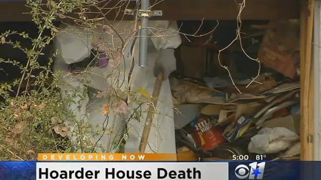 Inside the house of horrors ... crews had to cut a hole in the roof to climb in. Picture: CBS