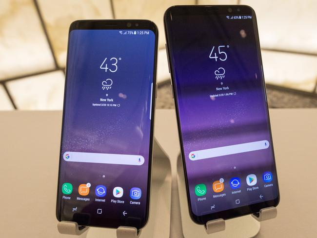 The Samsung S8 and S8+ smartphones, unveiled in New York, will feature 5.8 and 6.2-inch screens respectively. Picture: Supplied