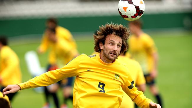 Josh Kennedy in action at Socceroos training.