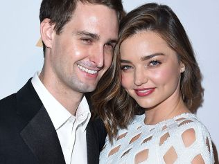 Miranda Kerr and Evan Spiegel at the 2016 Pre-GRAMMY Gala And Salute to Industry Icons Honoring Irving Azoff at The Beverly Hilton Hotel on February 14, 2016 in Beverly Hills City. (Photo by Steve Granitz/WireImage)
