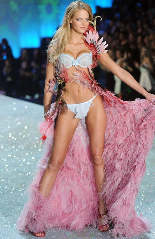 Erin Heatherton, pictured at the 2013 Victoria's Secret Fashion Show in New York, previously criticised the brand for its unattainable body standards. Picture: Getty Images.