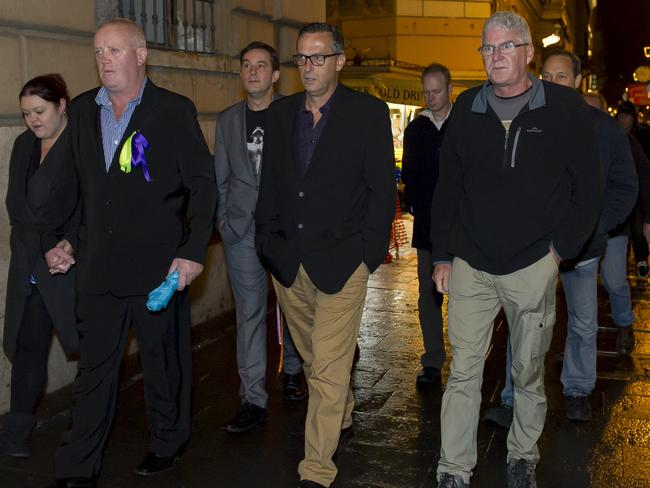 Abuse survivors in Rome for day two of The Royal Commission via video link. Picture: David Mirzoeff/ i-images