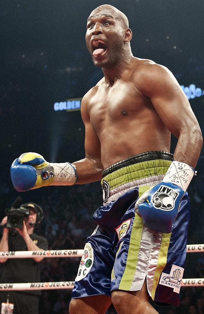 Bernard Hopkins shows no pain after a hit by Jean Pascal of Canada during their fight in 2011.