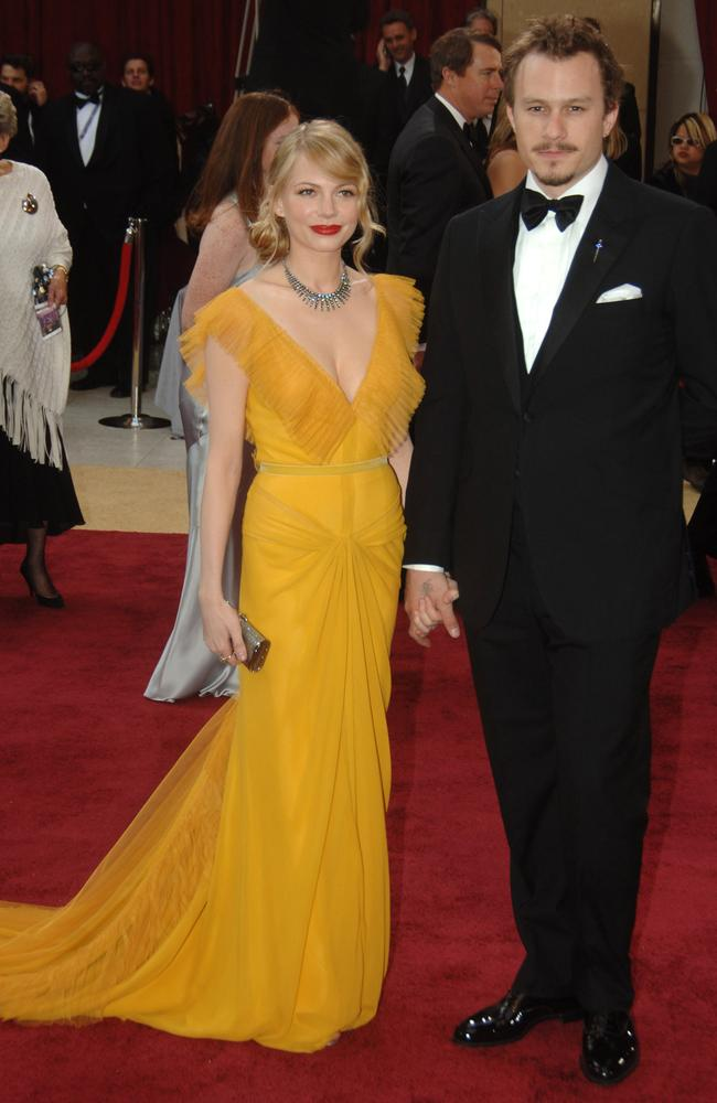 Michelle Williams, channelled old Hollywood in this canary yellow Vera Wang gown as she was accompanied by partner, the late Heath Ledger. Picture: Jeff Kravitz/FilmMagic, Inc