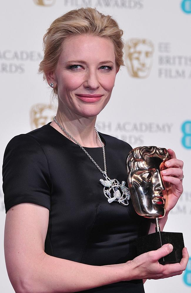 "US actress Cate Blanchett poses with the award for a leading actress for her work on the film ""Blue Jasmine"" at the BAFTA British Academy Film Awards at the Royal Opera House in London."