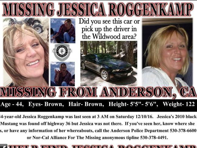 Jessica Roggenkamp, 44, was reported missing on December 12 after her car was found abandoned with the keys still in the ignition in a remote part of Shasta County.
