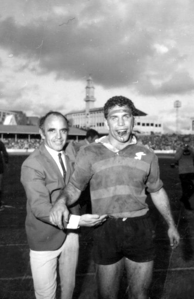 Coach Clive Churchill with captain John Sattler after Souths defeated Manly in 1970