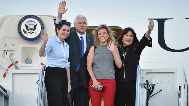"US Vice President Mike Pence, his wife Karen, aka ""Mommy"", and their two daughters Audrey (L) and Charlotte (2nd R) Picture: AFP"