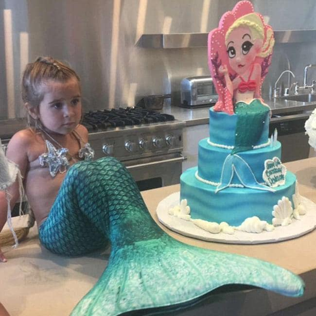 Penelope Disick doesn't look so thrilled with her Little Mermaid themed birthday. Picture: Kylie Jenner / Snapchat