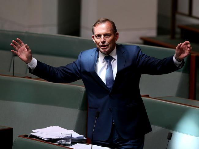 Standing in the way of the inevitable … Tony Abbott on Thursday.