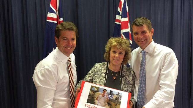 Medical use ... Tamworth MP Kevin Anderson, Lucy Haslam and Mike Baird at the announcement of the NSW cannabis reforms.