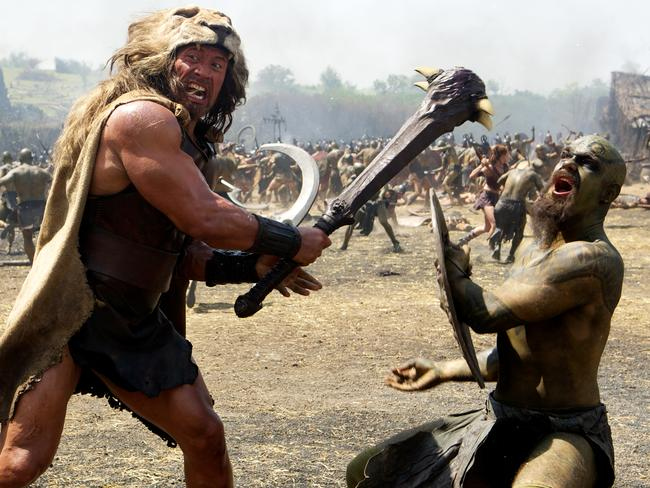 Dwayne Johnson as Hercules in the thick of battle.