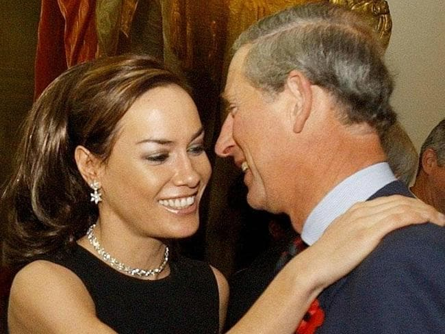 The Prince of Wales is greeted by goddaughter Tara Palmer Tomkinson in 2003. Picture: Supplied