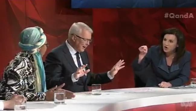 Yassmin Abdel-Magied, host Tony Jones and Tasmanian senator Jacqui Lambie on the Q & A panel.
