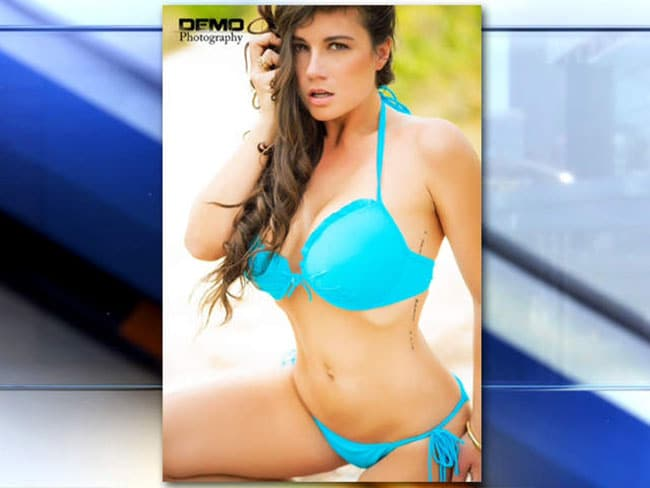 A Florida high school teacher has been asked to resign after posing for a bikini model shoot. Picture via Olivia Spraur