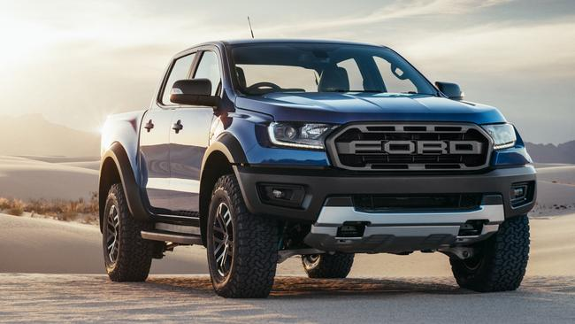 Showdown looming: the HSV Colorado SportsCat has the same 500Nm of engine torque as the Ford Ranger Raptor, pictured, while just 10kW separates their power outputs. Picture: Supplied.