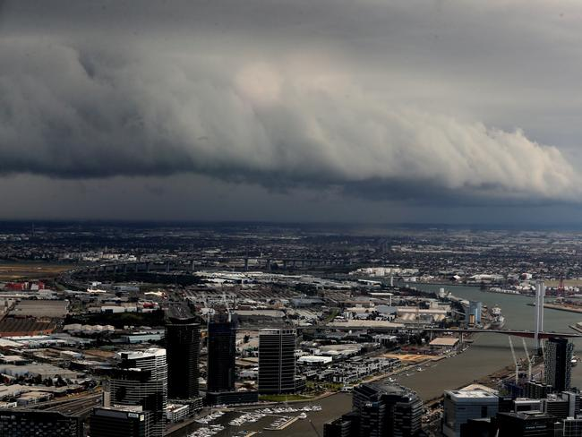 The storm rolls into Melbourne, as seen from Eureka Skydeck. Picture: Alex Coppel