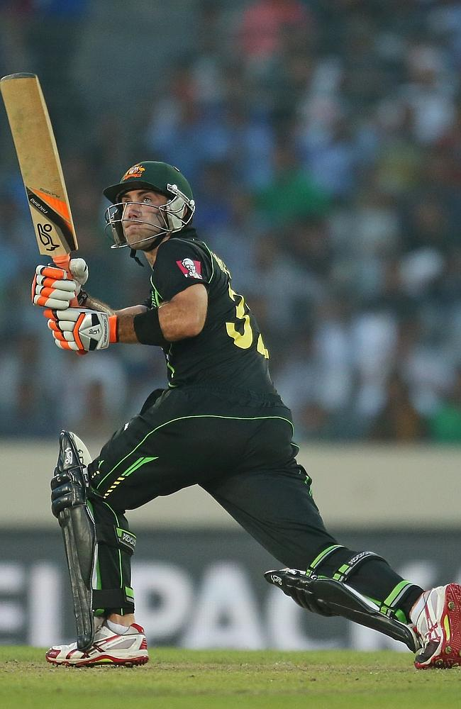 Glenn Maxwell smashes another boundary during his breathtaking 74 off 33 balls. Picture: