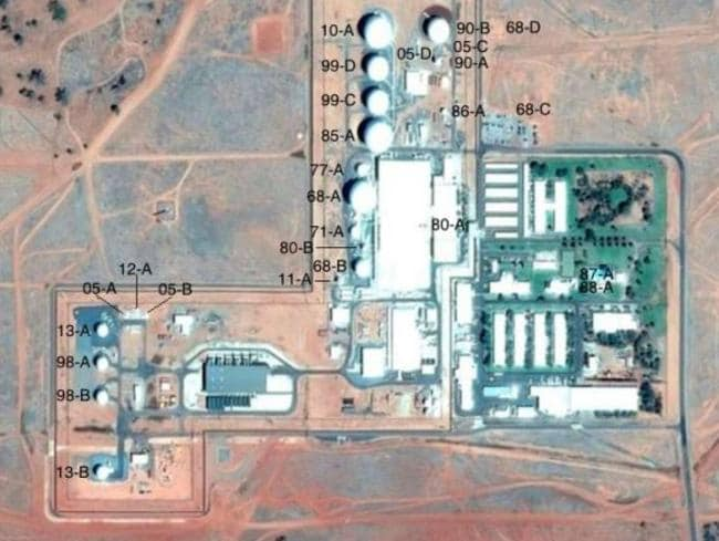 A Google Earth image reveals the extent of the antenna systems at Pine Gap. Picture: Nautilus
