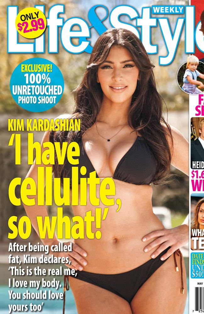 Kim Kardashian on the cover of Life & Style magazine.