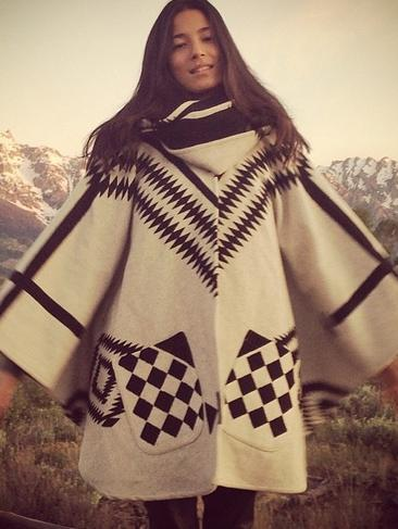"Aussie model Jessica Gomes taking a road through the USA! ""Road tripping Native American style with my homies! Poncho by @pendletonwm designed by @lindseythornburg #pocahontas #love."" Picture: Instagram"