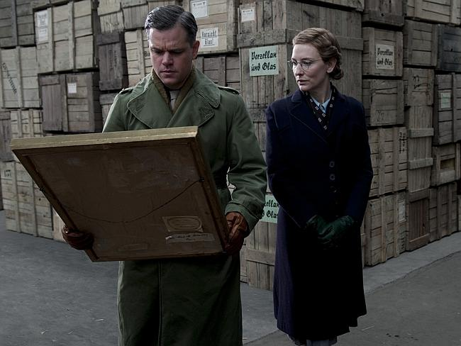 Pulling power ... Matt Damon (James Granger) and Cate Blanchett (Claire Simone) in a scene from film The Monuments Men. Picture: Supplied