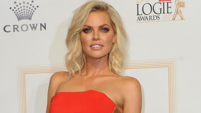 Sophie Monk arrives at the 2017 Logie Awards at the Crown Casino in Melbourne, Australia, Sunday, April 23, 2017. (AAP Image/Joe Castro) NO ARCHIVING