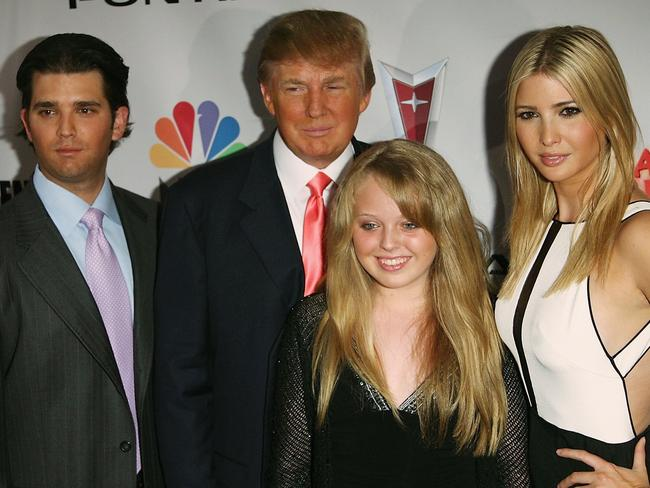 Donald Trump with his son Donald Trump Jr. and daughters Tiffany and Ivanka Trump in 2006.