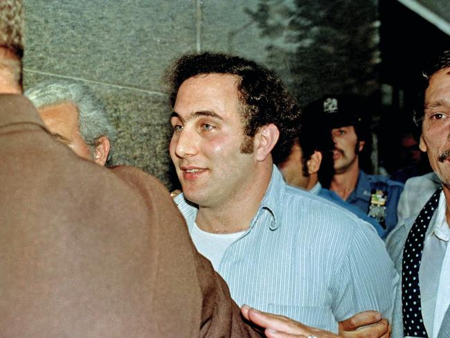 David Berkowitz, the tabloid-loving, police-taunting Son of Sam killer, in the custody of police after his arrest, in New York. Picture: AP Photo