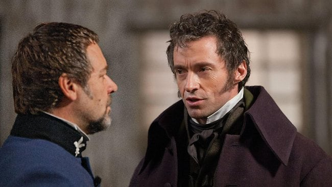 DT Features. PLEASE CREDIT: Universal Pictures. Russell Crowe & Hugh Jackman in the movie, Les Miserables. Picture: Pictures Universal