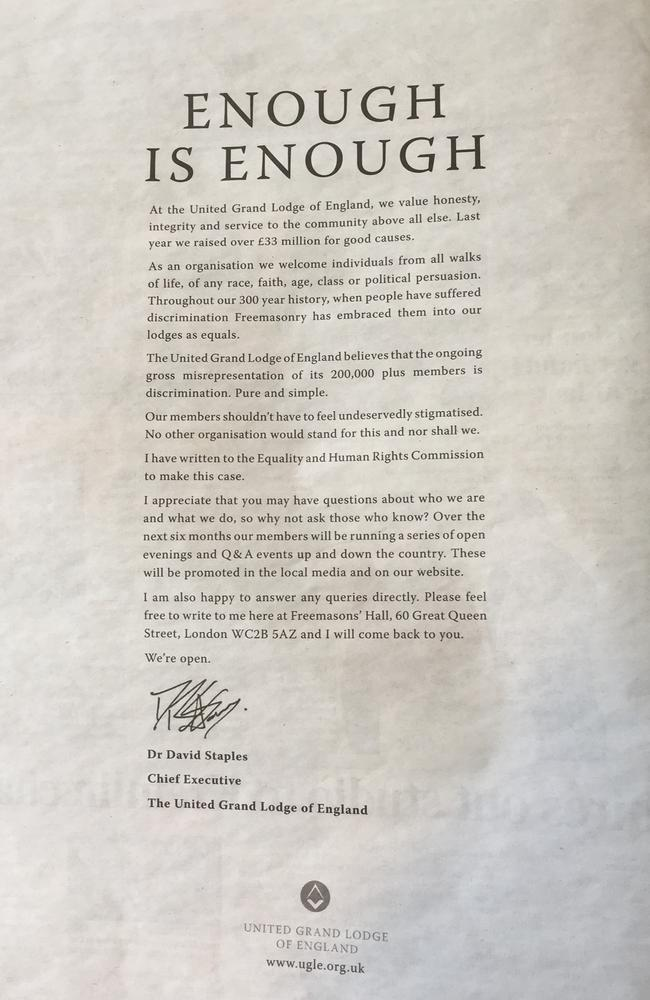 The advertisement taken out in three national newspapers in the UK.
