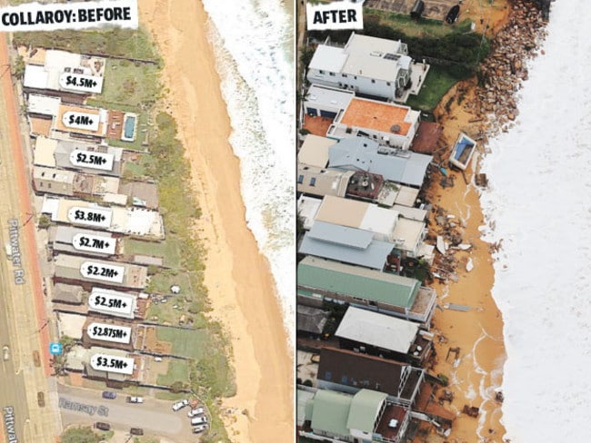 A row of million dollar mansions destroyed at Collaroy.