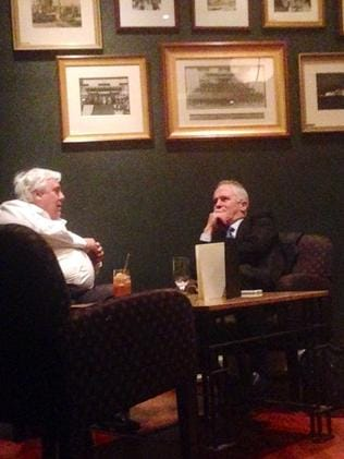Second date ... Clive Palmer and Malcolm Turnbull at the Hyatt in Canberra.