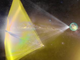 'Star Chip' is a proposed nano-space probe weighing just a few grams that could use a light sail powered by Earth-based lasers to propel it towards Alpha Centauri. Picture: Breakthrough Starshot