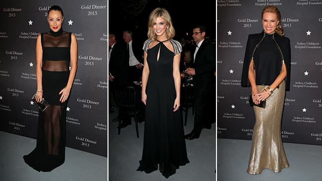 Terry Biviano; Delta Goodrem and Sonya Kruger at the 2013 Gold Dinner. Picture: Richard Dobson