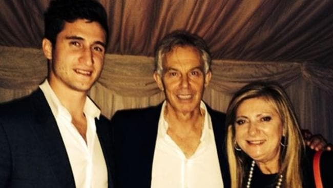 Tony Blair with guests at his wife's 60th birthday party. Picture Instagram