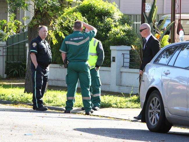 Police and Paramedics at the scene of a murder in Alberton, Adelaide. Picture Stephen Laffer