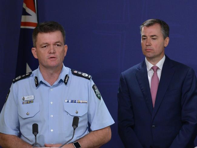 AFP Commissioner Andrew Colvin and Minister for Justice Michael Keenan condemned the alleged planned attacks at a press conference with the Prime Minister. Picture: Peter Parks/AFP