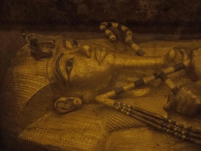 The sarcophagus of King Tutankhamun displayed in his burial chamber in the Valley of the Kings, close to Luxor, 500km south of the Egyptian capital, Cairo. Picture: Khaled Desouki