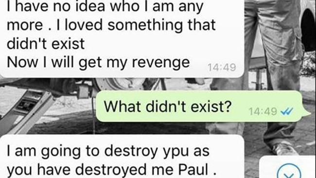 In texts sent before she went to the police, the woman promises to get 'revenge' and promises to 'destroy' him. Picture: The Sun