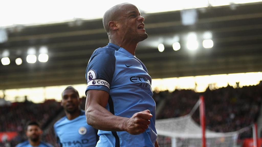 Vincent Kompany of Manchester City celebrates.