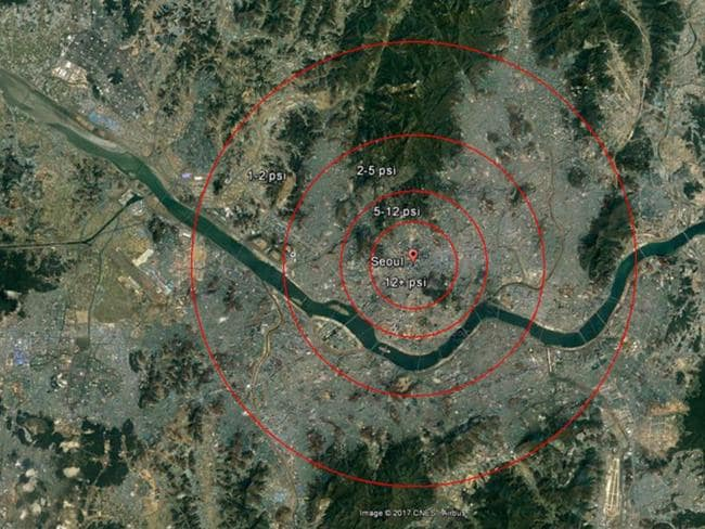 The potential blast area around Seoul would be significant. Picture: Google Maps/38 North