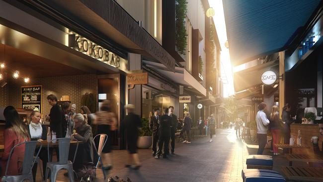 The cosy, intimate Shelley Lane at Barangaroo, will replicate some of the great laneway bar and dining precincts across the world.