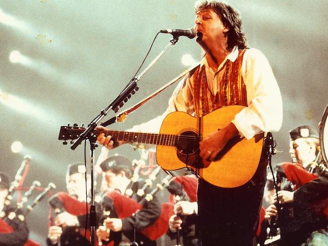 Old school: Paul McCartney on stage at Sydney's Parramatta Stadium in 1993 — his last visit here.