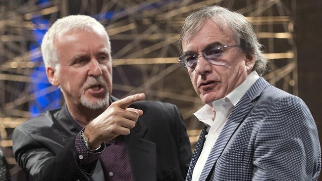 Director James Cameron, left, and Daniel Lamarre, chief executive of the Cirque du Soleil