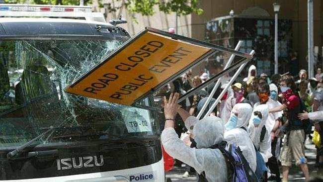 A scene from the protests when the G20 were last here in Melbourne. It is considered unli