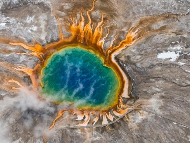 The Grand Prismatic hot spring in Yellowstone National Park, photographed from the air. Picture: istock