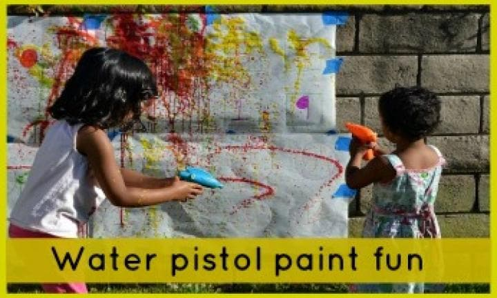 Water pistol paint fun