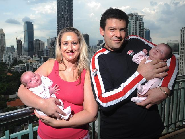 Adam and Kate Osborne and their twins Mali and Sierra-Leone from Bangkok. Picture: Thomas Campean